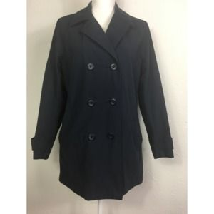 Eddie Bauer S Blue Lined Short Trench Coat
